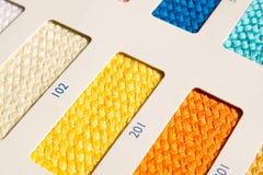 织品样式-颜色卡片 图库摄影