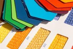 织品样式-颜色卡片 免版税库存照片