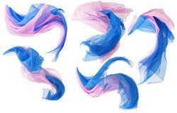 织品流动的布料波浪,丝绸挥动的飞行缎,桃红色蓝色C 免版税库存图片