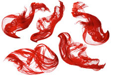 织品流动的布料波浪,红色挥动的丝绸飞行纺织品,白色 图库摄影