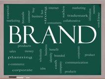 品牌词在黑板的云彩概念 库存照片