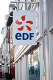 品牌EDF的商标的零售法国电提供者标志 库存照片