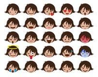 品种女孩emojis象传染媒介 免版税库存照片