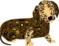 品种狗一只达克斯猎犬、一个动物与一个样式在身体,动物的传染媒介图象,设计从线和花, tatt 免版税库存照片