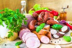 品种被处理的肉制品菜 免版税库存图片