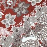 织品背景,五颜六色的减速火箭的挂毯纺织品的片段 免版税库存图片