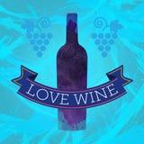 品酒卡片、葡萄标志和一个色的瓶 免版税图库摄影