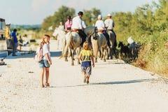 哄骗享受一次旅行对在法国南部的游人 免版税库存图片