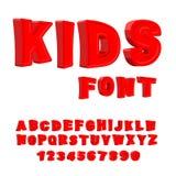 哄骗字体 3d信函 子项的字母表 红色滑稽的ABC为 库存图片