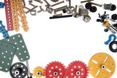 哄骗建筑玩具工具,五颜六色的玩具工具 免版税库存图片
