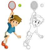 哄骗打网球-跳跃与网球拍-与着色页 库存图片
