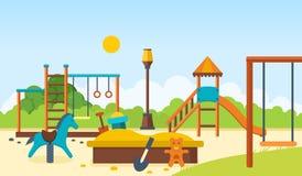 哄骗操场,单杠,并且摇摆,走的公园,儿童` s戏弄 免版税库存照片