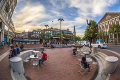 哈佛广场在剑桥, MA,美国 免版税库存图片