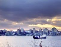 哈利法克斯港口在冬天 免版税库存图片