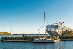 哈利法克斯,新斯科舍,加拿大- 2016年10月20日:狂欢节阳光在哈利法克斯,加拿大港的游轮  图库摄影