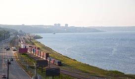 哈利法克斯,有海洋和火车的新斯科舍 图库摄影