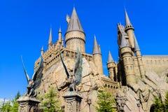 哈利・波特Hogwarts学校的全景  免版税库存图片