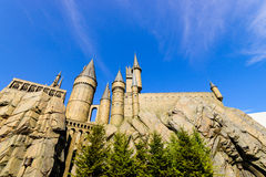 哈利・波特Hogwarts学校的全景  库存图片