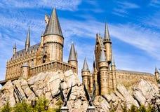 哈利・波特Hogwarts学校的全景  免版税库存照片