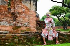 哈奴曼,艺术文化泰国跳舞在被掩没的哈奴曼,罗摩衍那,泰国Khon 免版税库存照片