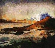 绘画哈密尔顿岛日落 库存图片
