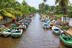 哈密尔顿运河, Negombo斯里兰卡 免版税库存图片