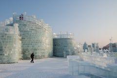 哈尔滨冰和雪节日2018年-冰象玻璃天阳光 库存图片