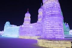 哈尔滨冰节日2018年-意想不到的冰和雪大厦,乐趣, sledging,夜,旅行瓷 免版税图库摄影