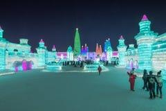 哈尔滨冰节日2018年-意想不到的冰和雪大厦,乐趣, sledging,夜,旅行瓷 图库摄影