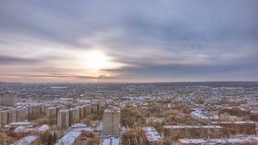 哈尔科夫市从上面日落冬天timelapse的 乌克兰 影视素材