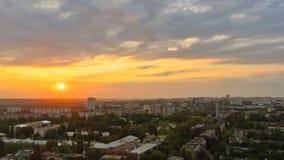 哈尔科夫市从上面日落timelapse的 乌克兰 股票视频