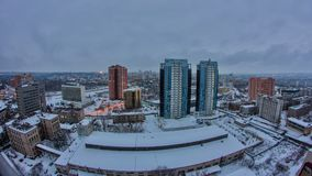 哈尔科夫市从对夜timelapse的天上在冬天 乌克兰 股票视频