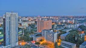 哈尔科夫市从对夜timelapse的天上 乌克兰 股票录像