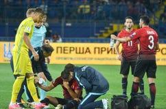 哈尔科夫,乌克兰- 2017年9月02日:受伤的土耳其橄榄球 免版税库存照片