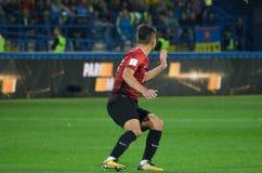 哈尔科夫,乌克兰- 2017年9月02日:在Th期间的足球运动员 图库摄影