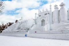 哈尔滨,中国- 2013年2月:国际雪雕艺术商展 免版税库存图片