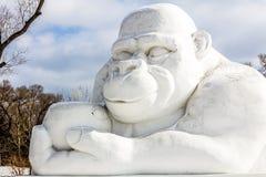 哈尔滨,中国- 2013年2月:国际雪雕艺术商展 库存图片
