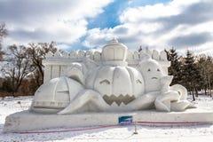 哈尔滨,中国- 2013年2月:国际雪雕艺术商展 库存照片