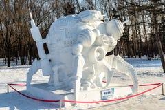 哈尔滨,中国- 2015年1月:国际雪雕艺术商展 免版税图库摄影
