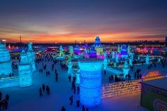 哈尔滨,中国- 2017年2月9日:哈尔滨国际冰和雪雕节日是一个每年冬天节日那 免版税库存照片