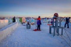哈尔滨,中国- 2017年2月9日:哈尔滨国际冰和雪雕节日是一个每年冬天节日那 图库摄影
