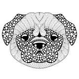 哈巴狗狗头 纹身花刺或成人antistress着色页 彩图的黑白手拉的乱画 标志的中国新 向量例证