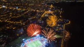 哈巴罗夫斯克致敬以纪念胜利天从上面的看法 图库摄影