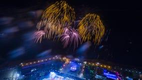 哈巴罗夫斯克致敬以纪念胜利天从上面的看法 库存照片