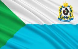 哈巴罗夫斯克边疆区,俄罗斯联邦旗子  库存例证