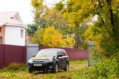 哈巴罗夫斯克,俄罗斯- 2018年9月23日:有黄色的SUBARU汽车 免版税库存照片