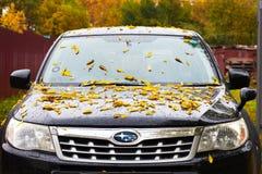哈巴罗夫斯克,俄罗斯- 2018年9月23日:有黄色的SUBARU汽车 免版税库存图片
