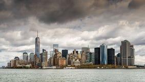 从哈得逊河的纽约财政区 免版税库存照片