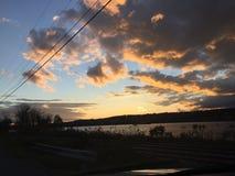 哈德森谷,多云纽约的日落 免版税图库摄影