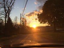 哈德森谷,多云纽约的日落 免版税库存图片